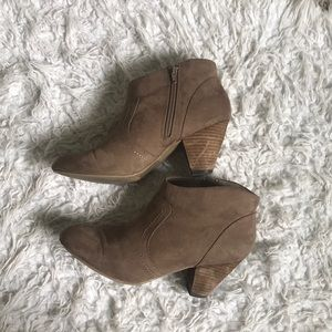 Lightly used suede boots with heel